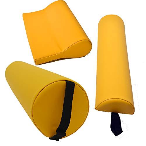 Massagezubehör Set 3 bestehend aus 1x Vollrolle Knierolle mit Griff 1x Lagerungsrolle Halbrolle und 1x Nackenkissen Kopfstütze für die Massageliege wasserabweisend in Gelb