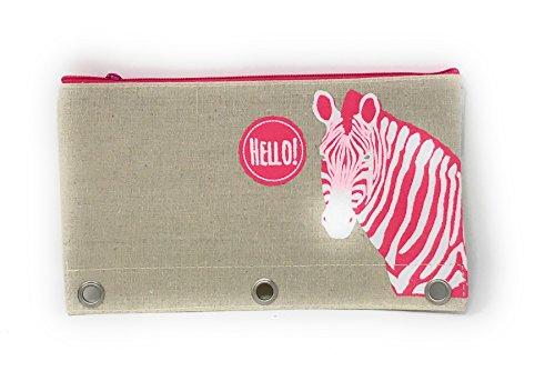 Burlap Fashion Pencil Pouches with 3 Holes for Binder (Zebra)