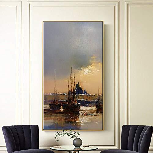 SUMIANYH 100% met de hand beschilderde olieverfschilderijen puur met de hand beschilderd olieverfschilderij Franse classicisme decoratief schilderen eenvoudige romantische schilderijen veranda open haard door muurschildering groot formaat 50×100cm