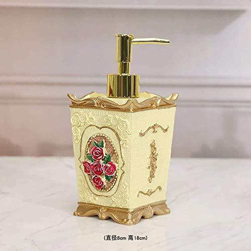 Pgs Jabón líquido del envase, Diseño amarillo retro Eco Resina Cerámica Moda dispensador de jabón, mano creadora de talla Botella cuadrado de la flor del rosa rojo Champú desinfectante de manos, 300ml