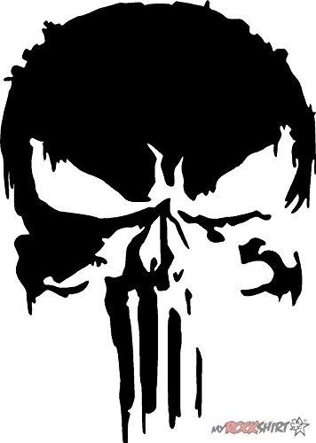 myrockshirt Punisher fieser Totenkopf 20 cm Aufkleber für Auto,Scheibe, Lack,Wand,Wandtattoo aus Hochleistungsfolie für alle glatten Flächen Autoaufkleber Tuning Decal Sticker