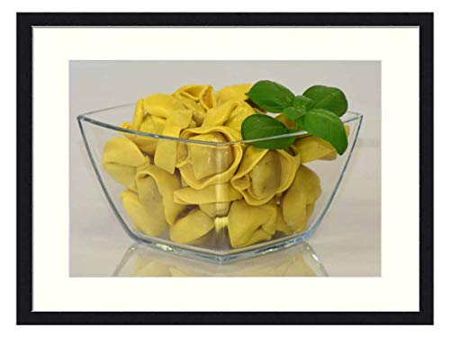 OiArt Wall Art Print Wood Framed Home Decor Picture Artwork(24x16 inch) - Noodles Tortellini Pasta Carbohydrates Lunch Italy