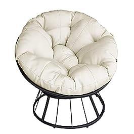 Papasan Chaise d'extérieur pivotante à 360 degrés avec coussin beige et cadre résistant, chaise confortable Circle…