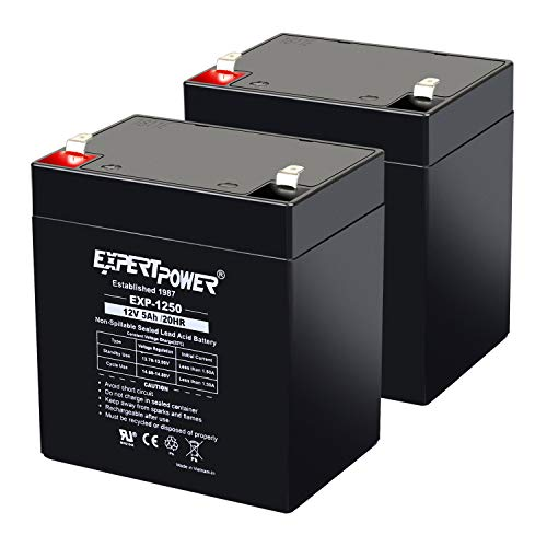 (2 Pack) ExpertPower 12V 5Ah Home Alarm Battery With F1 Terminals ||...