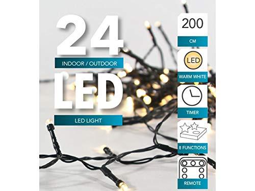 Led Lichterkette Batterie 24 48 96 mit Timer und teilweise mit Fernbedienung grünes Kabel für innen und außen (24er + Fernbedienung)