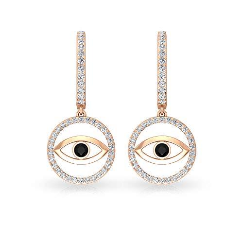 Pendientes de diamante blanco y negro de 3/4 quilates, pendientes de mal de ojo para mujer, pendientes de aro de orocon clip.