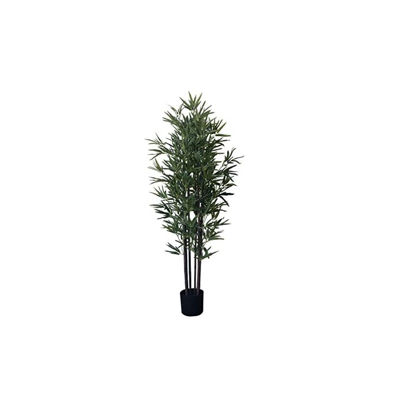 silk flower arrangements amerique 5.3 feet gorgeous & dense bamboo tree artificial plant with black trunks, in nursery pot, real touch technology, 6 stalks & 1152 leaves, green