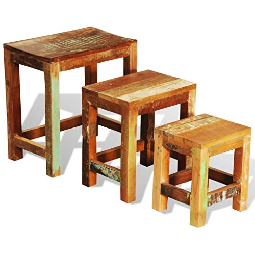 Anself Reclaimed Wood Nesting Tables Vintage Antique-style Set of 3