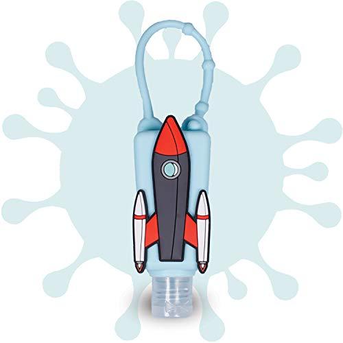 MY SAFELY Mini Kids Hände-Desinfektionsgel To Go Rakete + 1 Nachfüllflasche I 2 x 30 ml I Cooles Desinfektionsmittel für unterwegs im praktischer Silikonhalter I Vegan & OHNE Mikroplastik