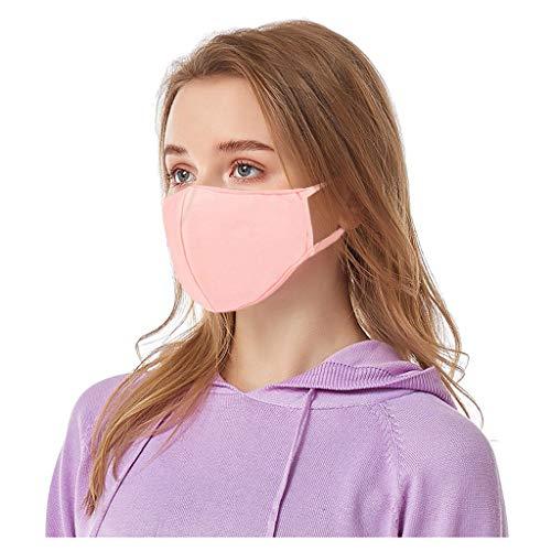 Supertong Herren Damen Baumwolle Mundschutz 4 Stück Einfarbige Stoffschilde Wiederverwendbar Waschbar Atmungsaktiv Bequem Gesichtsschutz Outdoor Radfahren Staubdicht Face Shield (Rosa)