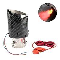 高品質の新しいユニバーサル車LEDの排気管修正赤/青の光フラミングストレートシングルアウトレットテールの喉 車の排気ヘッド (Color : Lavender)