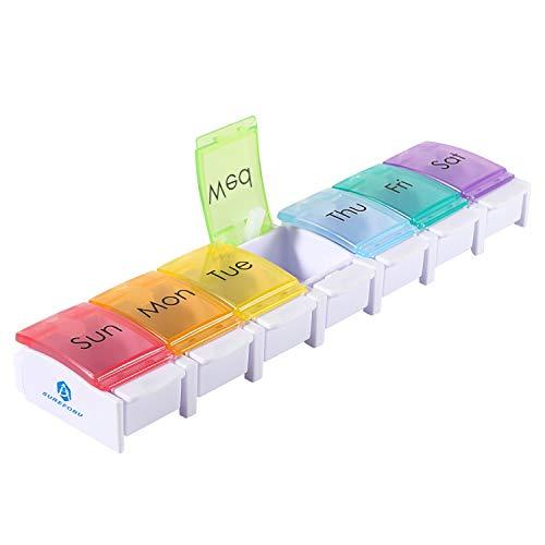 Tablettenbox 7 tage,Leicht zu öffnende und zu verwendende Tablettenbox 7 Tage,Pillendose 7 Tage für bequeme Aufbewahrung und Transport,Medikamentenbox zur Aufbewahrung von Lebertran