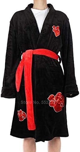 QYLLXSYY Winter Robe Winter Flannel Robes for Man Anime Naruto Akatsuki Uchiha Itachi Ninja Cosplay Gown Soft Warm Bath Robe Kimono Loose Style (Color : Black, Size : S M)