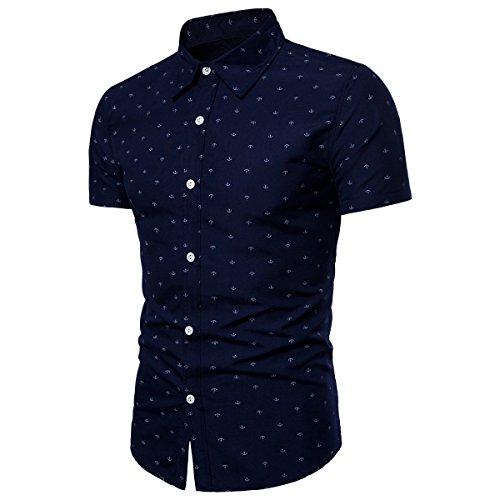 Männer Baumwolle Kurzarm Hemd Anker Gedruckt Freizeit Stil Revers Kragen Shirts (Color : 3, Size : XL)