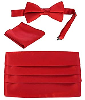 Gioberti Kids/Boys  Adjustable Satin Cummerbund Set With Formal Bow Tie and Pocket Square Red