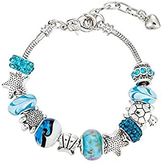 925 Silver DIY Charm Beads Pandora Elements Bracelets ocean style For Women Crystal Jewelry(silver)