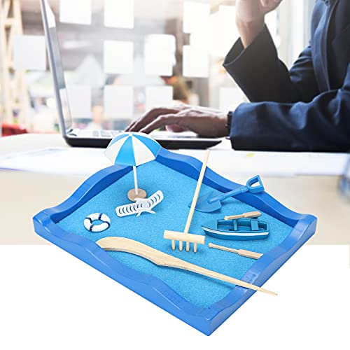 Wosune Mini meditación Zen Garden, Kit de decoración de Mesa de Arena Zen Sand Table Ocean Beach Style Azul para Relajarse para Regalos para meditación para Decoraciones