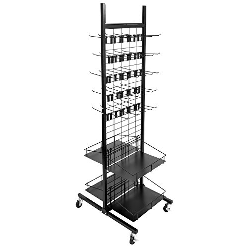 Rolling Retail Display Merchandising Rack Store Fixture, 66  Tall x 28  Footprint, Includes 50 Peg Hooks and 4 Shelves by Brybelly