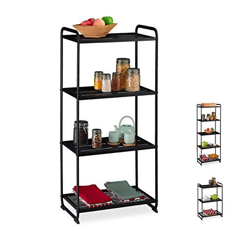 Relaxdays Regal Metall, 4 Ablagen, Vorratsregal Küche & Abstellkammer, universal, Standregal, HBT 124,5x58x34, schwarz