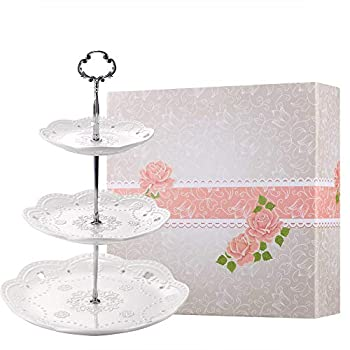 BonNoces 3-Tier Porcelain Embossed Cake Stand - Pure White Elegant Dessert Cupcake Stand - Pastry Serving Tray Platter for Tea Party Wedding and Birthday