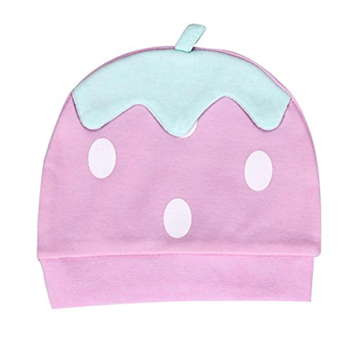 Longra Nouveau-né Petit-Enfant Baby Strawberry Bonnet Bonnet Infant Horn Knotted Cap (Rose)