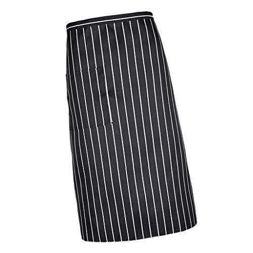 MaoDaAiMaoYi Sharplace dames heren vintage strepen casual keukenschort chic korte taille schort kookschort barbecueschort restaurant horeca schort kelnerschort donkerblauw