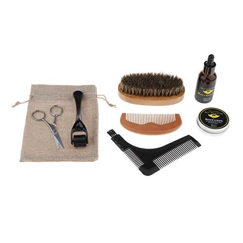 freneci 1 Juego Ultimate Beard Care Kit para Hombres Alivia El Cepillo de Cerdas de Haya con Rodillo