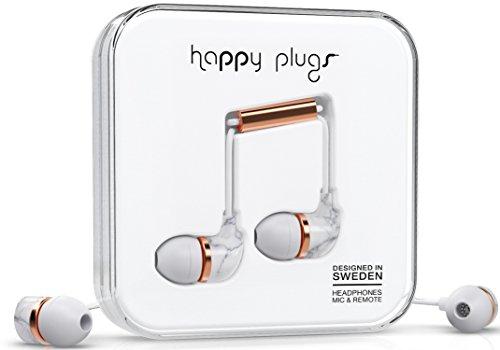 Happy Plugs bekabelde oordopjes met in-line afstandsbediening en microfoon In het oor In-Ear marmer