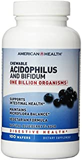American Health Chewable Probiotics, Acidophilus-Blueberry with Acidophilus and Bifidus, 100 Count by American Health