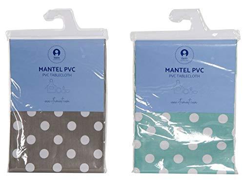 NAUTICALMANIA Pack Dos Manteles Cuadrados PVC Hule Plastificado 140x140 Verde Menta/Gris con Lunares Blancos Fácil Limpieza y Desinfección - Apto Interior y Exterior