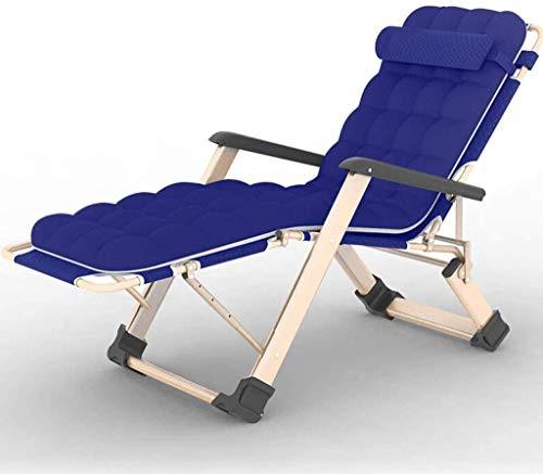 Tumbona de jardín plegable para balcón, con almohadilla de algodón gruesa, portátil de gravedad cero, cama plegable de doble tela Oxford (color azul), color azul