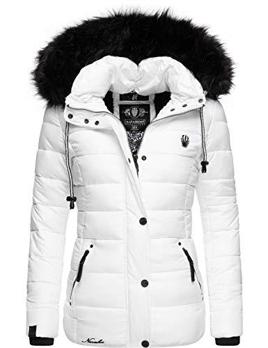 Navahoo Damen Winterjacke Steppjacke mit abnehmbarem Kunstfell Zuckerbiene Weiß Gr. L