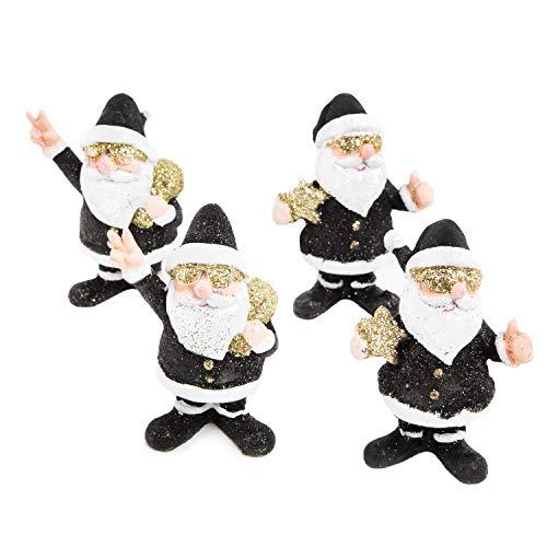 Logbuch-Verlag 4 Weihnachtsmann Figuren 8 cm schwarz Gold glitzernd - Santa Claus Rocker Weihnachtsfigur Weihnachtsdeko Geschenk Weihnachten
