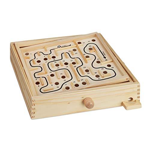 Relaxdays 10023502, Natur Holz Labyrinth Spiel, mit 2 Kugeln, Geschicklichkeitsspiel, Balancespiel, ab 3 Jahren, Brettspiel XL