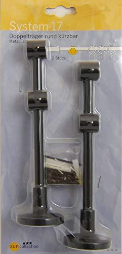 Teba 2X Doppelträger (kürzbar) für 16mm Gardinenstangen schwarz