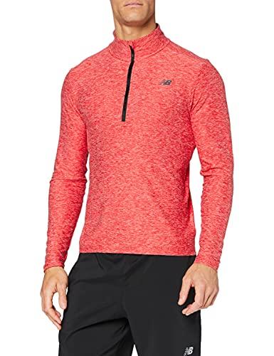 New Balance Top para hombre Core Space Dye Quarter Zip Top, Camiseta, MT83915, Equipo Pimiento Rojo, S