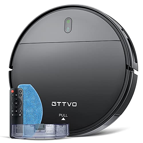Robot Vacuum and Mop, GTTVO Robotic Vacuum Cleaner, 2 in 1 Mopping Robot Vacuum Cleaner with 1400Pa Suction, Zigzag Cleaning Path, Self-Charging, Super-Thin, Ideal for Hard Floor, Pet Hair and Carpet