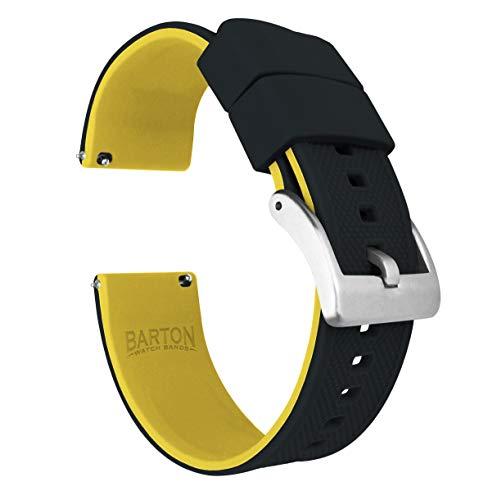 Barton Elite Bracelet de montre en silicone à libération rapide, couleur au choix, 18mm, 19mm, 20mm, 21mm, 22mm, 23mm et 24mm 22mm Dessus noir/fond jaune.
