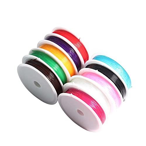 Moulding 10 Rollos de 0,6 mm Crystal Elástico Hilos Elásticos Elásticos Cuerda de Abalorios Cadena de Abalorios 10 Colores para Pulseras de joyería Collar de Collar