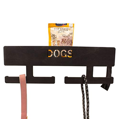 INEXTERIOR Hundegarderobe XL - Farbe: Schwarz - aus Holz - mit großer Ablage - in Deutschland gefertigt - mit Spender für Hundekotbeutel und Haken für Handtücher (Schwarz personalisiert)
