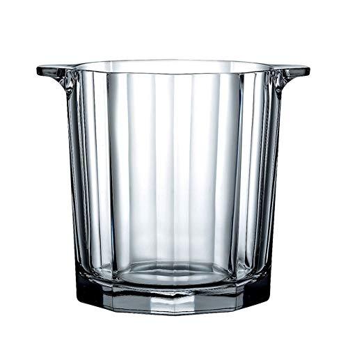 Cristallo Portaghiaccio Con Pinze Ghiaccio Manico,isolamento Secchio Di Ghiaccio Raffreddatore,addensare Bicchiere Champagne Refrigeratore Di Vino Secchiello Bevande-chiaro 13x13x15cm(5x5x6inch)