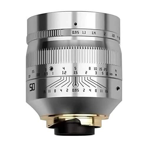 TTArtisan 50 mm F0.95 Kameralinse, Vollfame, manueller Fokus, kompatibel mit Leica M Mount Kamera, Leica M-M M240 M3 M6 M7 M8 M9 M9p M10 (silberfarbene Version der schwarzen Schrift)