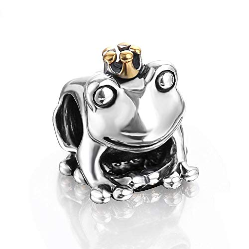 Yoin 925 Frog Prince with Gold Color Crown Animal Pet Charm Fit Bracelet Silver Jewelry Making 0085