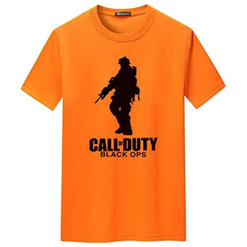 WENMW Camiseta personalizada para hombre y niños, diseño gráfico de verano de manga corta, informal, para niñas, unisex, personalizable, de manga corta, color naranja, L