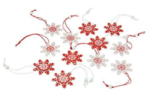Clever Creations Red and White Snowflake 12 Pack Christmas Tree Ornaments