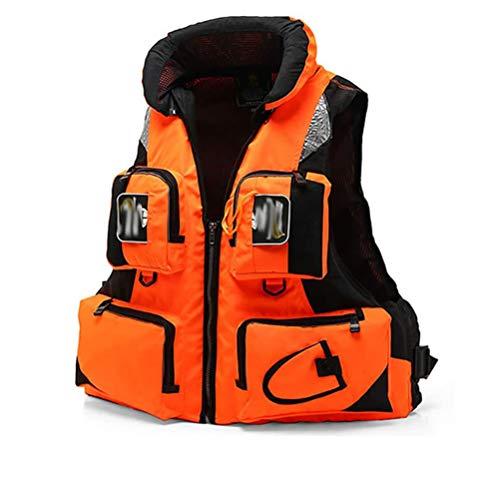 GFYWZZ Chaleco Salvavidas para Adultos, para Ayuda a la natación Flotante al Aire Libre, navegación, Kayak, navegación a Motor, Pesca, Buceo, Chaqueta de natación Ayuda a la flotabilidad,Naranja,XXL