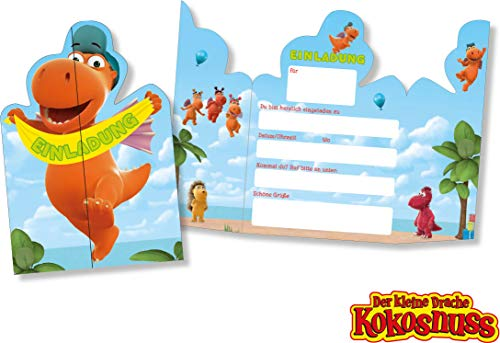 DH-Konzept: 8 Einladungskarten * DER KLEINE Drache Kokosnuss * für Kinderparty und Kindergeburtstag | Kinder Einladung Invites ler Party Set