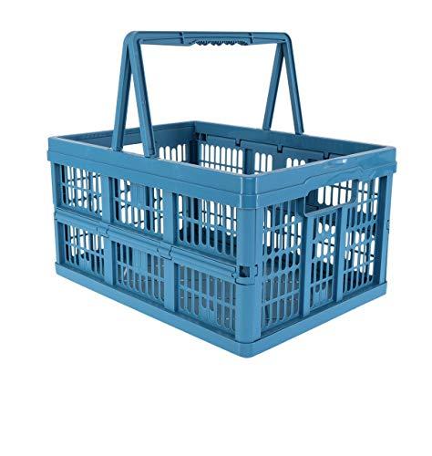 keeeper Zusammenfaltbare Klappbox Emma, Stabiler Kunststoff (PP), Blau, 38,5 x 28,5 x 21,0 cm, 18,5 l