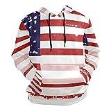 AUISS USA Flag Freepower Hoody Sweatshirt for Men Hooded Pullover Sports Drawstring Unisex Long Sleeve Hoodie Pockets Black