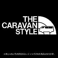 キャラバンNV350 ステッカー THE CARAVAN STYLE【カッティングシート】パロディ シール(12色から選べます) (白)
